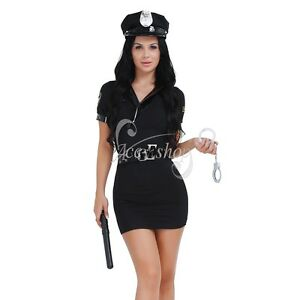 Image is loading Women-Police-Cop-Halloween-Costume-Fancy-Dress-Sexy- 3c82a595f