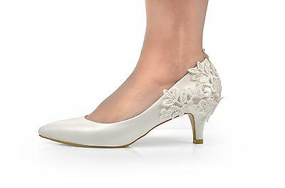 New Ivory Lace Crochet Mid Heel Wedding Pumps Bridal Shoes