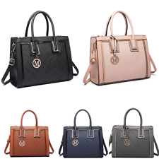 Ladies Designer Tote Shoulder Raised Code Handbag PU Leather Work Bag