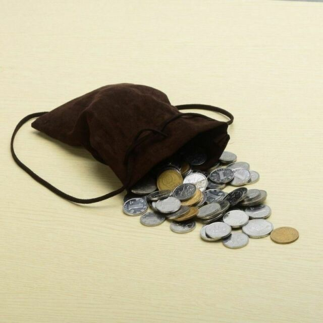 Larp-Sca Re-enactment LEATHER MEDIEVAL MONEY POUCH-DRAWSTRING BAG ON SALE!