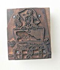 Vintage Pirate With Treasure Chest Metal Letterpress Printers Block Stamp