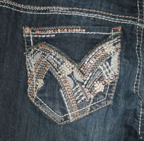 12 NWT HYDRAULIC woman BAILEY heavy stitch sequin MICRO BOOT cut JEANS 2