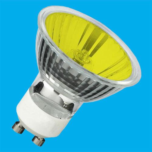 4 X Dimmbar 50W Gelb//Bernstein Farbig Halogen GU10 Reflektor Glühbirne Lampe