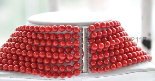 Genuine natural 8row 6mm red coral round bead Necklace Handmade 17-24 Inch