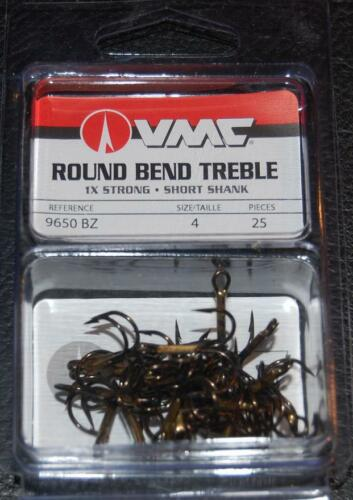 VMC 9650 Round Bend Treble Hooks Size 4 Pack of 25 9650BZ-04 Bronze 1X Strong