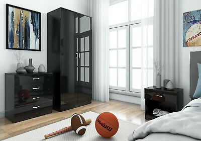 HARMIN BLACK HIGH GLOSS BEDROOM FURNITURE- SOFT CLOSE WARDROBE, CHEST &  BEDSIDE | eBay