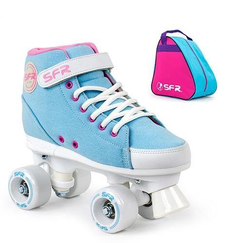 SFR Vision Sneaker Quad Roller Skates Sky Blue Optional Skate Bag