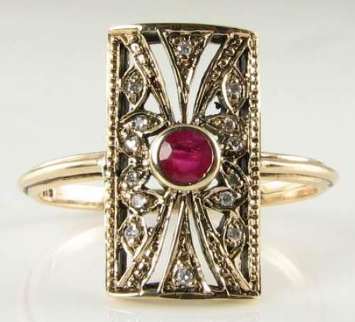 STUNNING LONG 9K gold ART DECO INS RUBY & DIAMOND RING
