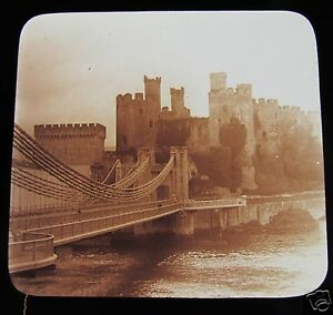 Glass-Magic-Lantern-Slide-CONWY-CASTLE-C1910-WALES-L117