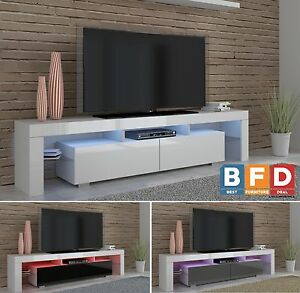 Image Is Loading 190cm White High Gloss TV Unit Modern TV