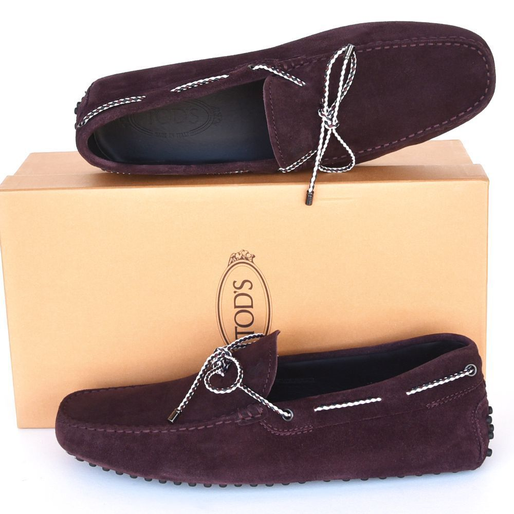TOD'S Tods New sz US 8.5 Designer Uomo Drivers Loafers Shoes madera