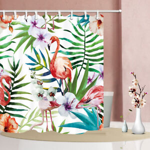 Details About Watercolor Flamingo Bathroom Polyester Fabric Shower Curtain Extra Long 84 Inch