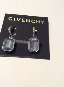 Image Is Loading 45 Givenchy Silver Tone Large Blue Crystal Drop