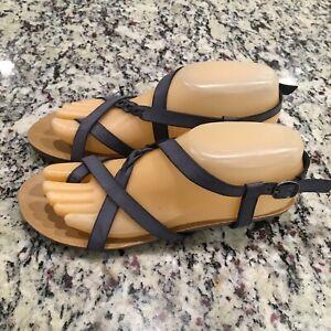 NEW Blowfish Malibu Granola Women's VEGAN Blue Flat Strappy Sandals Size 7.5 M
