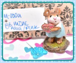 Wee-Forest-Folk-M-080a-Be-Mine-Valentine-Sweetheart-Glitter-Heart-Aqua-Mouse