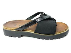 3371fffbb8584 Naot Orion Womens Size 38 US 7 Thong Sandals Black Slides Slip On ...