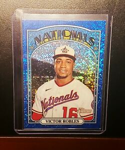2021 Topps Heritage Baseball Victor Robles CHROME BLUE SPARKLE - NATIONALS
