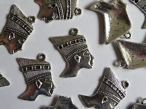 10-Silver-Egyptian-Pharaoh-Head-Jewellery-Charms-24x26mm