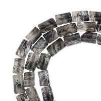 15.7 Black Rutilated Quartz Tube Cylinder Beads Ap.4x6mm 78092