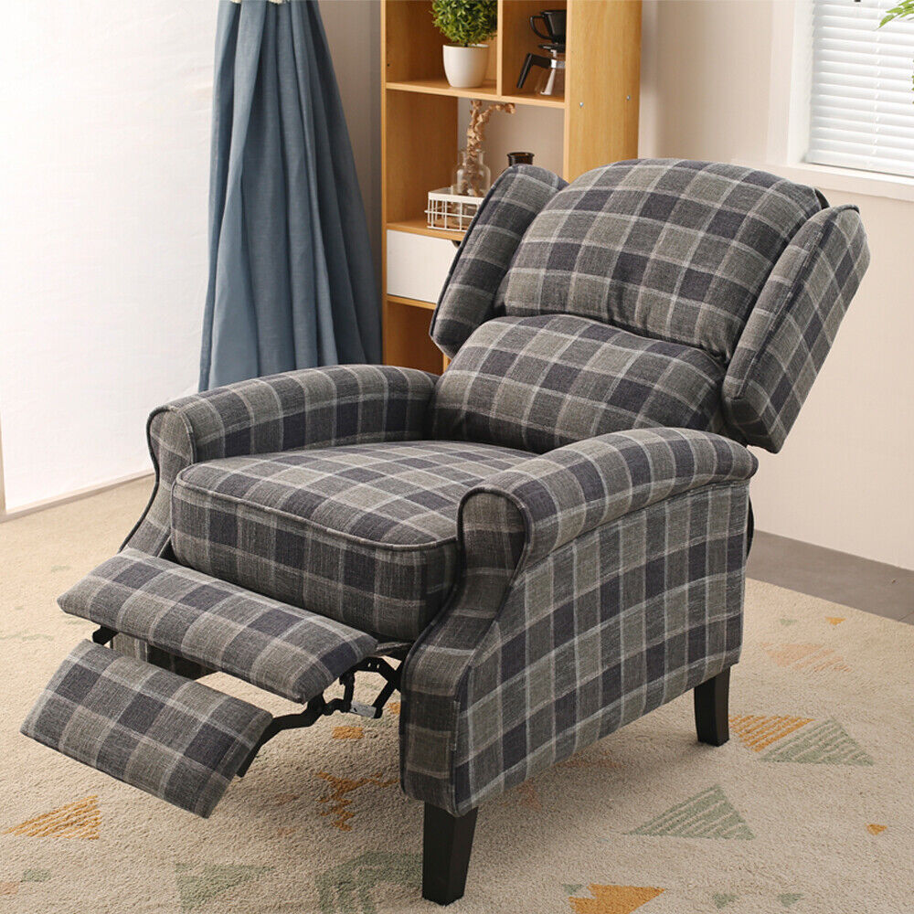WING BACK FIRESIDE CHECK FABRIC RECLINER ARMCHAIR SOFA ...