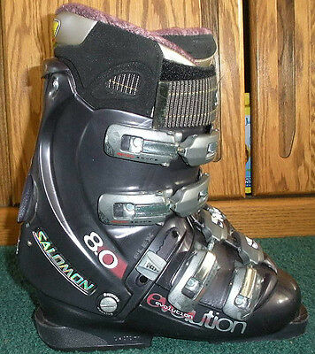 #88 SALOMON EVOLUTION 8.0 DOWNHILL SKI BOOTS, WOMENS 7, MONDO 23.5, | eBay
