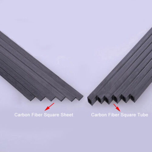 Tubo Cuadrado De Fibra De Carbono & Hoja 1.7 mm 2 mm 3 mm 4 mm 5 mm 200 mm o 400 mm de longitud OD