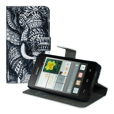 kwmobile Schutz Hülle für Huawei Ascend Y330 Elefant Aztec Tasche Kunstleder EC