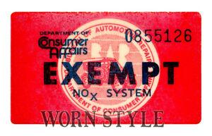 California-emissions-NOX-device-Exempt-Sticker-California-cars-Window-Decal
