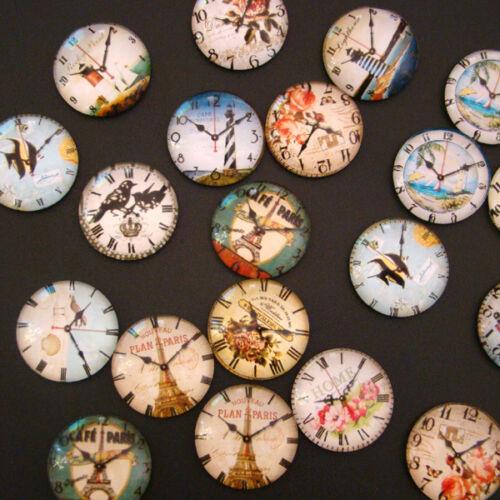 p00126x6 15 GLAS CABOCHONS Vintage Steampunk UHREN UHR MIX 25mm