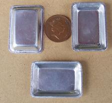 La bandeja de Lata 1:12th (3) Casa de muñecas en miniatura de metal Bandeja de alimentos Accesorio Para Hornear Md