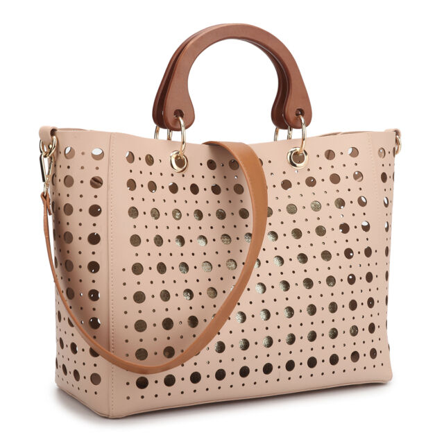 92f9041ab0c New Wooden Handle 2 in 1 Women Handbag Faux Leather Tote Bag Shoulder Bag  Purse