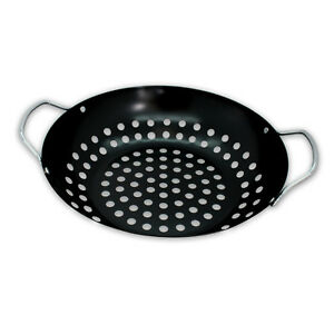 antihaftbeschichteter grill wok grillpfanne wok pfanne grillen barbecue barbeque ebay. Black Bedroom Furniture Sets. Home Design Ideas