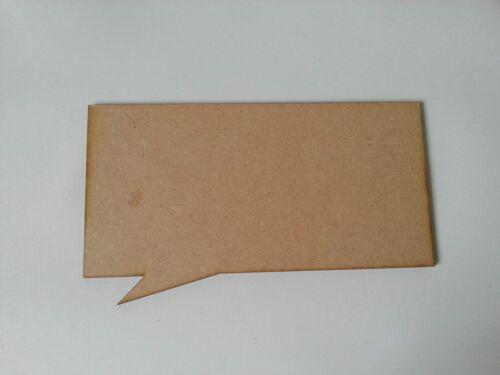 3mm mdf 20cm x 10cm speech bubble plaque square corders S106
