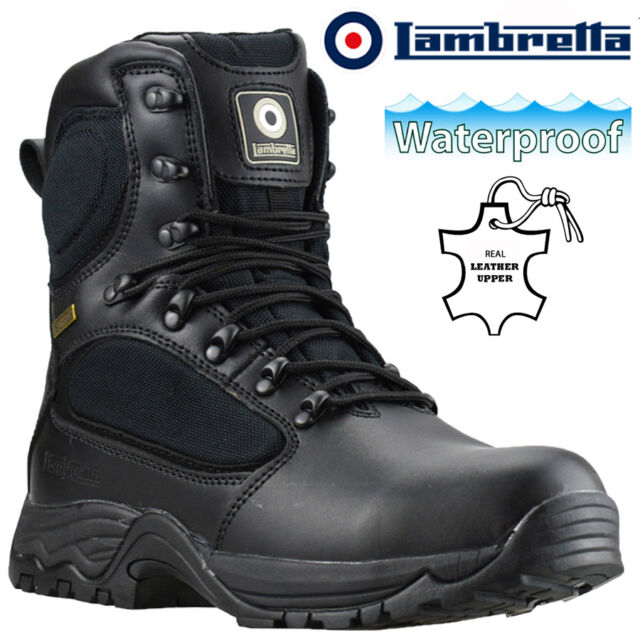 ebc0f86d38d MENS LAMBRETTA LEATHER WATERPROOF MILITARY POLICE SAFETY STEEL TOE WORK  BOOTS