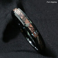 6mm Tungsten Red Forest Camouflage Camo Hunting Band Ring Mens Womens Jewelry