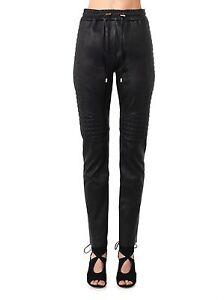 NWT-2600-Balmain-Paris-Black-Quilted-Leather-Jogging-Pants-Sz-40-S