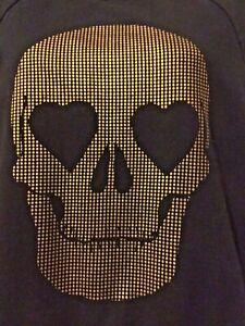 VANS-Black-gold-Sweat-shirt-Small-Heart-eyes-skull-graphic-Gothic-Punk-skater