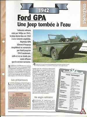 Bellissimo Voiture Ford Gpa GÉnÉral Purpose Amphibian Fiche Technique Automobile 1942 Car