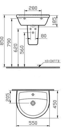 DIANA PLUS Vitra Handwaschbecken Waschtisch Waschbecken 45,50,55,60,65,70cm weiß