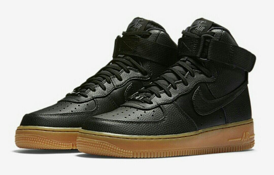 NIKE AIR FORCE 1 HI SE 860544-002 Black Dark Grey Gum Women's Sneakers BRAND NEW