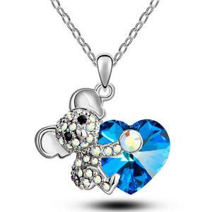 Collana-ciondolo-pendente-Koala-catena-catenina-strass-cuore-azzurro-regalo