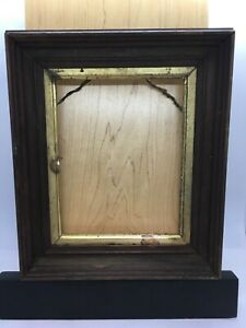 Antique-Victorian-Mahogany-Deep-Recessed-Picture-Frame-Fits-7-1-2-x6-Gold-Trim