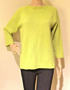 LAST-CHANCE-TO-BUY-Vintage-Size-S-M-Lime-Knitted-Wool-3-4-Sleeve-Warm-Jumper