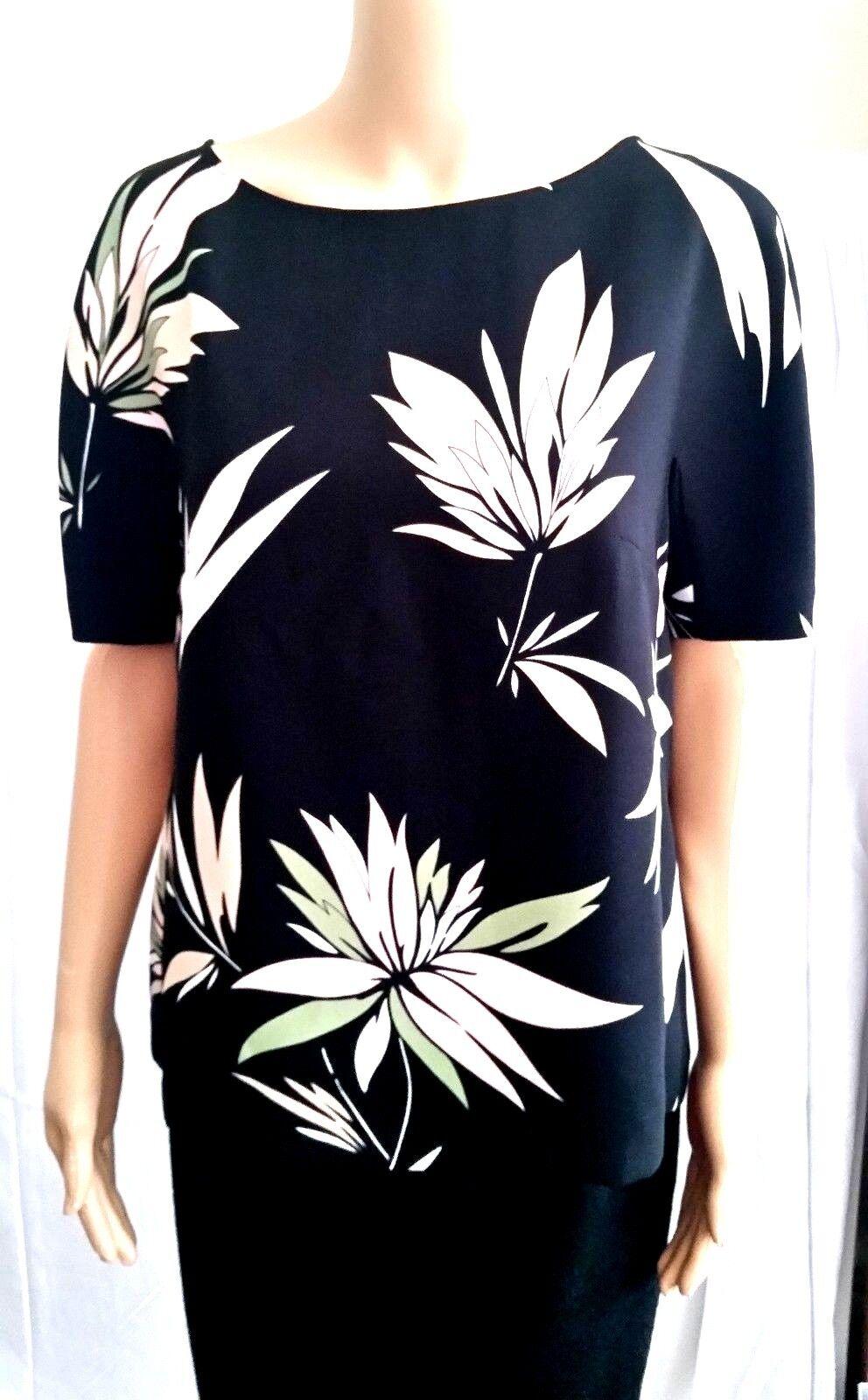 New MAX MARA Studio Floral Printed Blouse Größe 8 USA, 42 I, schwarz made in