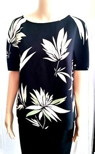 New-MAX-MARA-Studio-Floral-Printed-Blouse-size-8-USA-42-I-Black-made-in-Italy