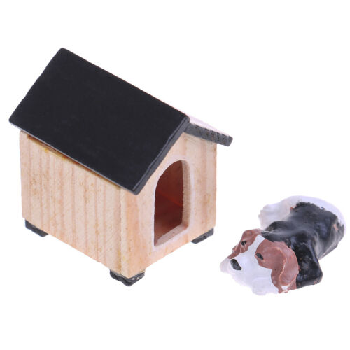 1:12 Puppy dog and house miniatures dollhouse garden decoration