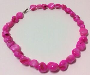Vibrant-Pink-Mother-of-Pearl-MOP-Necklace-Shell-Strand-Shiny-Beads-Handcrafted