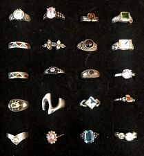 20 Vintage Sterling Ring Lot Amber Peridot Turquoise Coral Chips Garnet Mexico