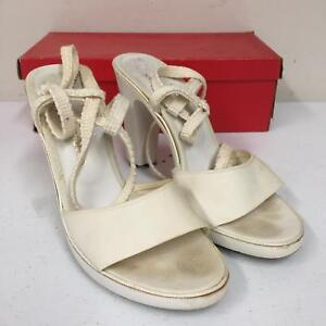 c8de361b6be99 Details about Vtg Womens Charles Jourdan 052520 White 7 1/2 AA 7.5  Slingback Sandals w/ Heels