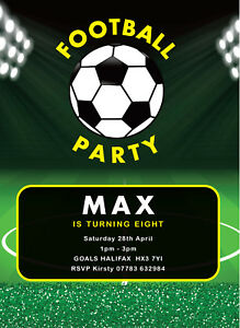 Details About Football 5 A Side Personalised Birthday Party Invitation Soccer